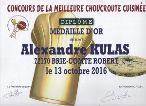 Médaille d'or de la meilleure choucroute cuisinée